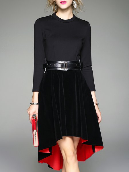 Black Asymmetric 3/4 Sleeve Paneled A-line Midi Dress With Belt
