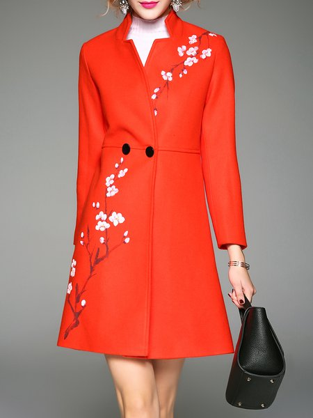 Orange A-line Buttoned Printed Stand Collar Long Sleeve Coat