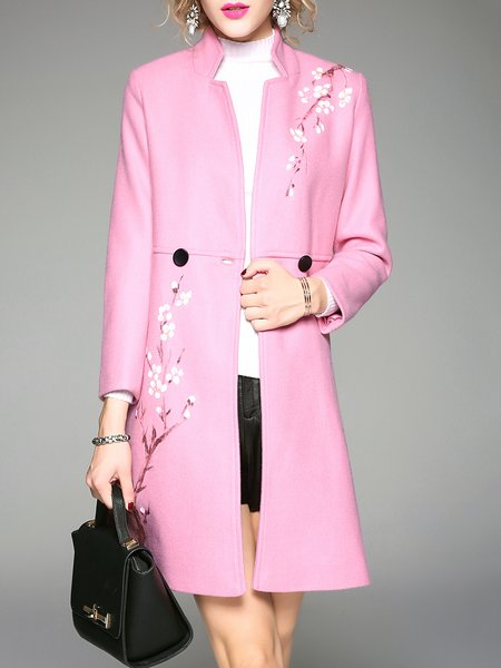 Pink Hand-drawn Floral Long Sleeve Coat