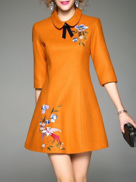 Mustard Peter Pan Collar Half Sleeve Embroidered A-line Mini Dress