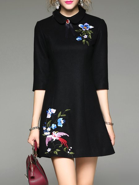 Embroidered Half Sleeve A-line Elegant  Mini Dress
