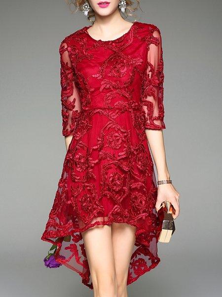 Red Elegant Crew Neck Asymmetric Polyester Midi Dress