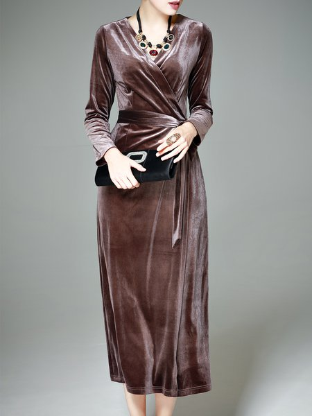 Solid Surplice Neck Long Sleeve Elegant Midi Dress