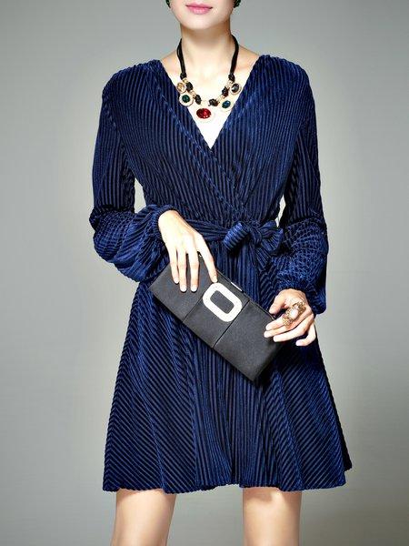 Ribbed Plain Long Sleeve Surplice Neck Mini Dress