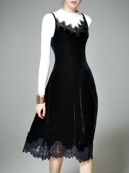 Velvet Paneled Casual Sleeveless Spaghetti Midi Dress