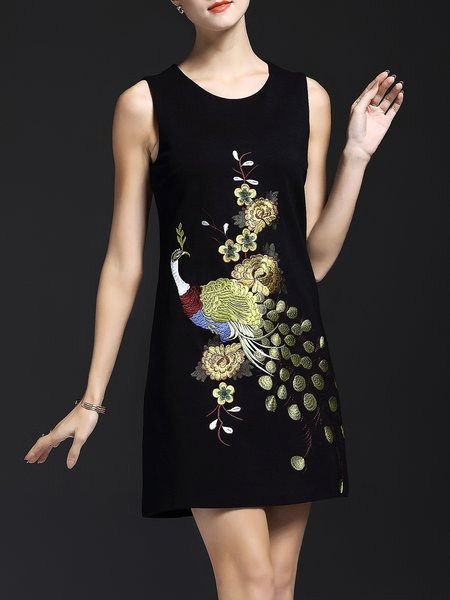 Vintage Crew Neck Sleeveless Embroidered Mini Dress