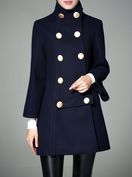 Dark Blue Long Sleeve Double Breasted  A-line Solid Coat