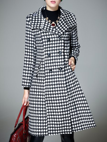 Casual A-line Long Sleeve Houndstooth Coat