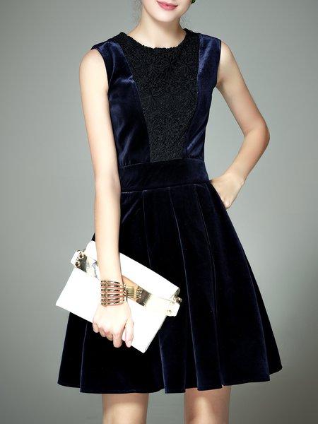 Dark Blue Elegant Crew Neck A-line Mini Dress