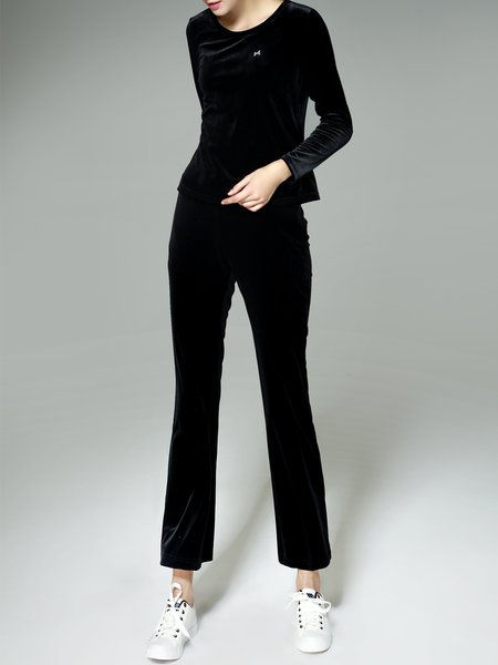 Black Crew Neck Casual Plain Two Piece Jumpsuit