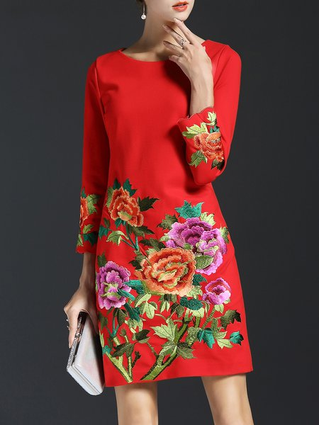Vintage Floral-embroidered A-line Midi Dress