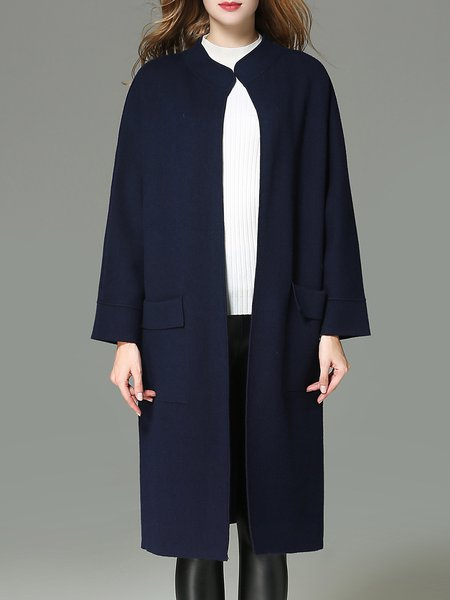 Long Sleeve Pockets Plain Simple Coat