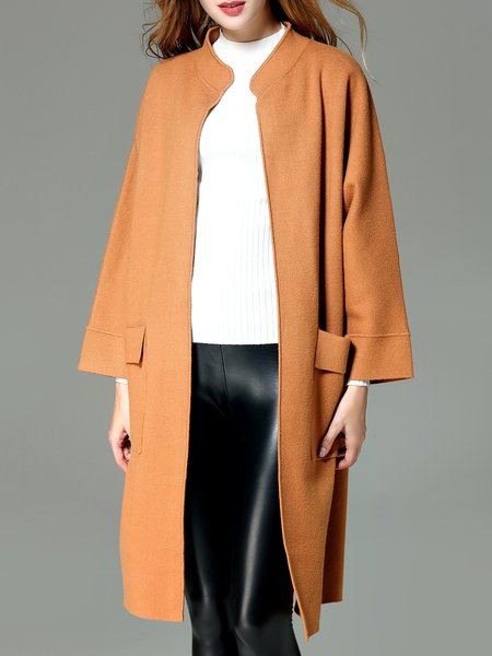 Simple Rayon Long Sleeve Plain Pockets Stand Collar Coat