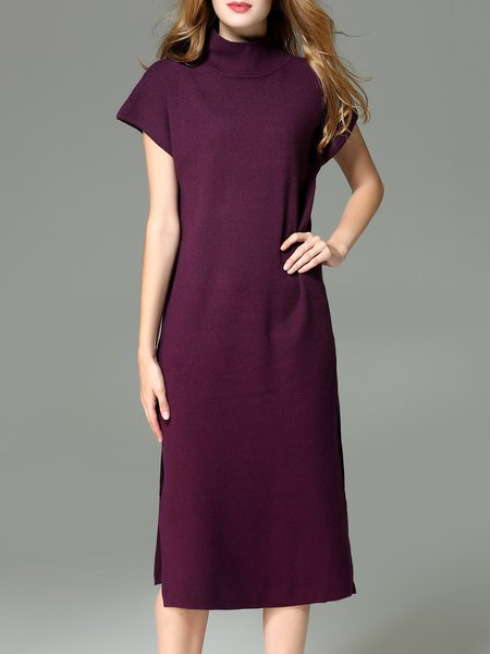 Casual Slit Plain Short Sleeve Midi Dress