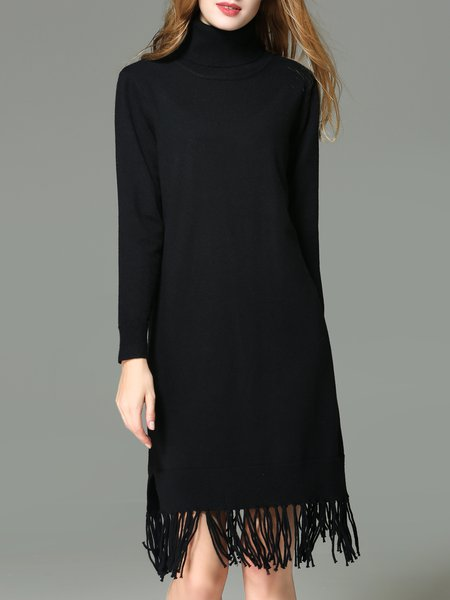 Fringed Long Sleeve H-line Plain Midi Dress