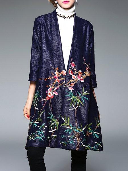 3/4 Sleeve Shift Floral-embroidered Vintage Coat
