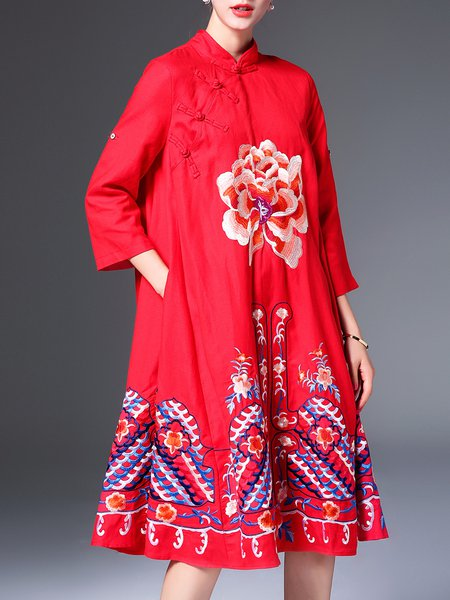 Cotton-blend 3/4 Sleeve Vintage Floral-embroidered Midi Dress