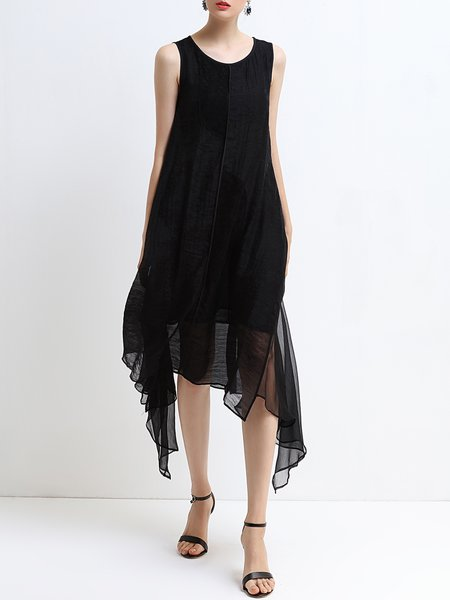 Sleeveless Asymmetric Crew Neck Casual Maxi Dress