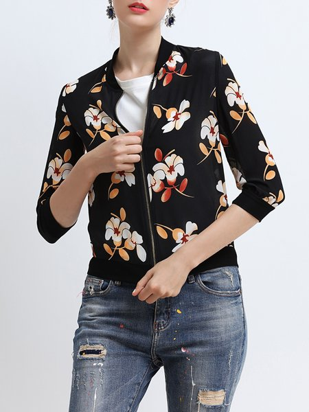 Casual Floral 3/4 Sleeve H-line Zipper Cropped Jacket