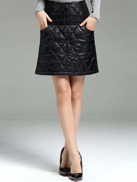 Black Solid A-line Casual Midi Skirt