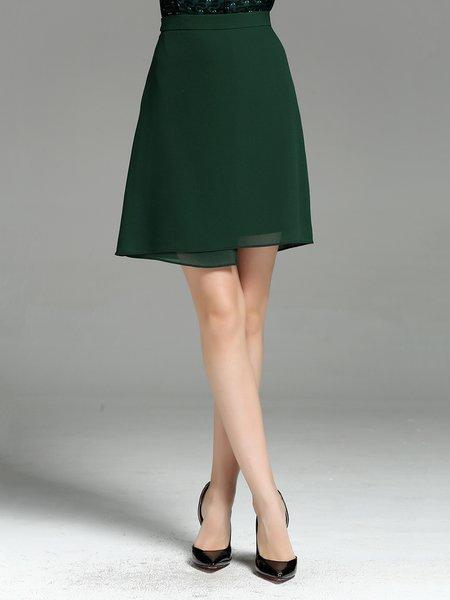 Dark Green Polyester A-line Elegant Solid Mini Skirt
