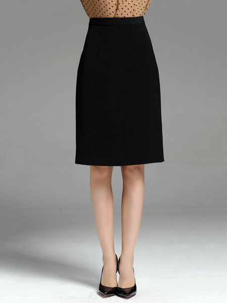 Black Solid Elegant Midi Skirt