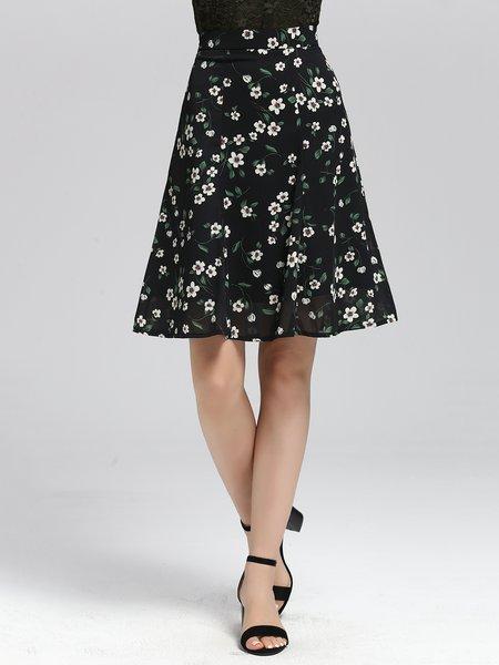 Black Casual Floral-print A-line Mini Skirt
