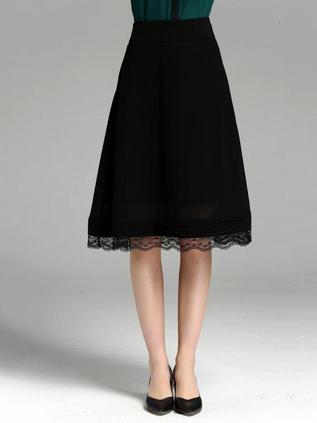 Black Elegant Solid Guipure Lace Midi Skirt