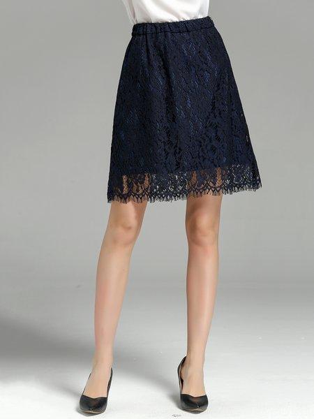 Dark Blue Elegant Polyester A-line Pierced Mini Skirt