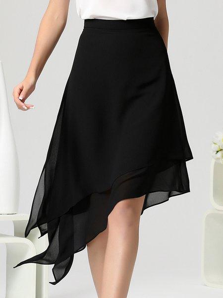 Black Elegant A-line Asymmetric Midi Skirt