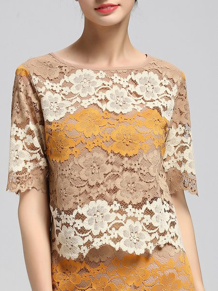 Yellow Guipure Lace Short Sleeve Blouse