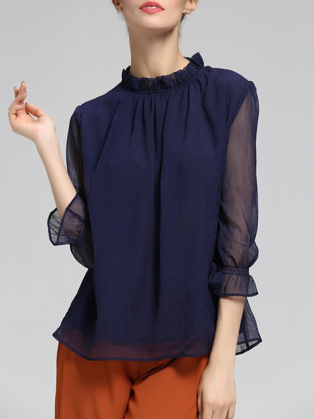Dark Blue Stand Collar Casual Solid See-through Look Tops