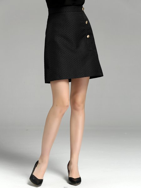 Black Buttoned A-line Simple Midi Skirt