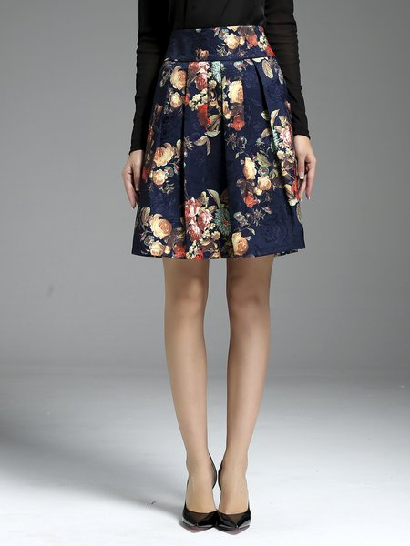 Multicolor Elegant Floral Jacquard Midi Skirt
