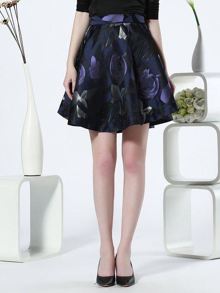Plus Size Blue Elegant A-line Midi Skirt