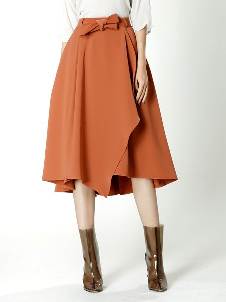 Orange Asymmetric Elegant Midi Skirt