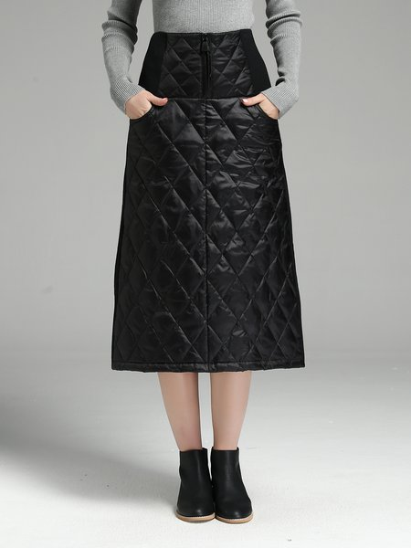 Black Casual A-line Pockets Midi Skirt