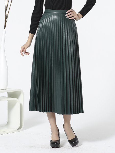 Dark Green Pleated A-line Elegant Solid Midi Skirt