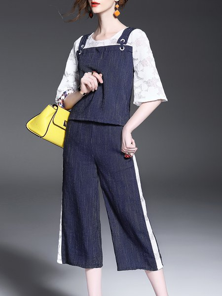 Blue Two Piece Stripes Guipure Lace Paneled Casual Jumpsuit