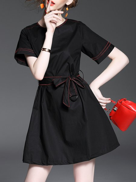 Short Sleeve Cotton Casual Crew Neck Skater Mini Dress with Belt