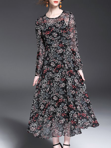 Long Sleeve Swing Floral Casual Crew Neck Maxi Dress
