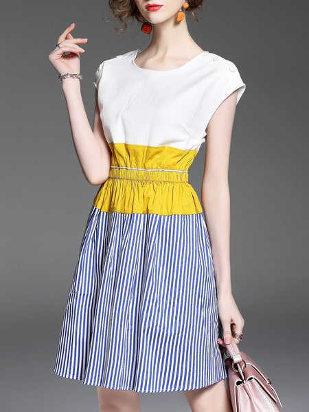 White Color Block Stripes Casual A-line Crew Neck Midi Dress