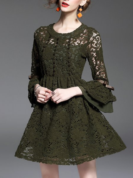 Army Green Crocheted Pierced Lace  A-line 3/4 Sleeve Mini Dress