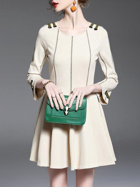 Crew Neck A-line Polyester Simple Mini Dress
