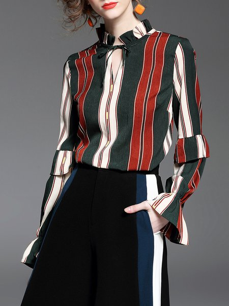Stand Collar Color Block Casual Long Sleeve Blouse