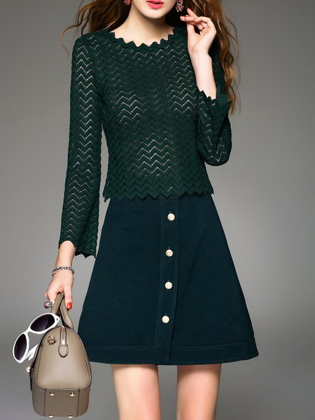 Elegant Long Sleeve Jacquard Two Piece A-Line Midi Dress