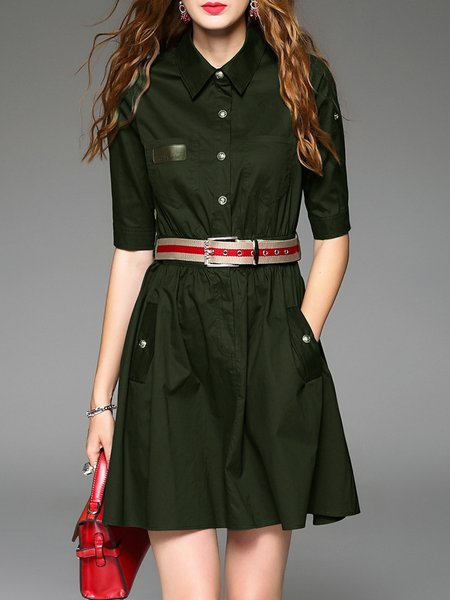 Army Green Cotton Half Sleeve Shirt Collar Plain Mini Dress With Belt