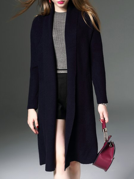 Dark Blue Cashmere Plain Knitted Elegant Cardigan