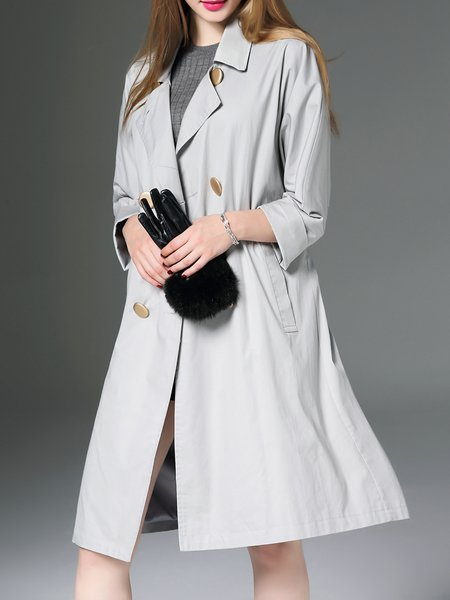 Gray Lapel Elegant Cotton Buttoned Trench Coat With Belt
