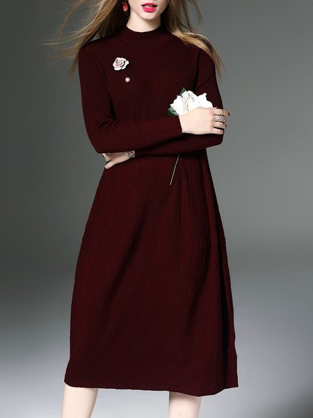 Turtleneck Casual Long Sleeve Midi Dress With Brooch